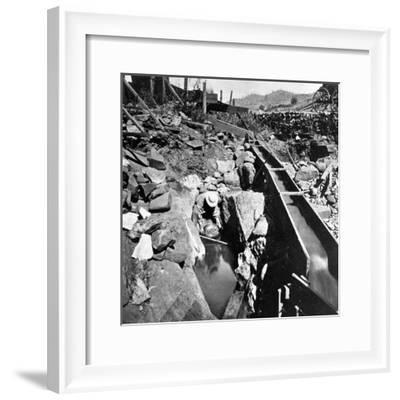 Placer Mining, Panning Out, from 'Gems of California Scenery' Published by Lawrence and…--Framed Photographic Print