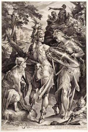 Minerva and Mercury Arming Perseus, 1604-Jan Harmensz Muller-Stretched Canvas Print