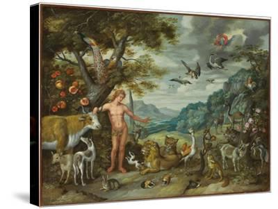 Adam Naming the Animals, from the Story of Adam and Eve-Jan Brueghel the Younger-Stretched Canvas Print