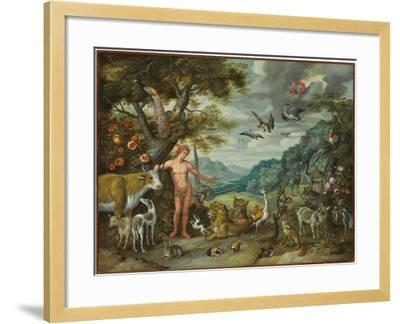 Adam Naming the Animals, from the Story of Adam and Eve-Jan Brueghel the Younger-Framed Giclee Print