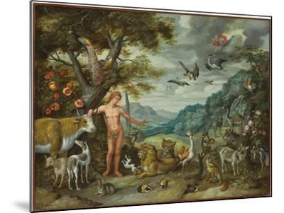 Adam Naming the Animals, from the Story of Adam and Eve-Jan Brueghel the Younger-Mounted Giclee Print