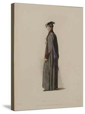 Student in Civil Law, Engraved by J. Agar, Published in R. Ackermann's 'History of Oxford', 1814-Thomas Uwins-Stretched Canvas Print