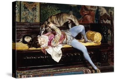 A Young Page, Playing with a Greyhound; Un Jeune Page, Jouant Avec Un Levrier, 1869-Giovanni Boldini-Stretched Canvas Print