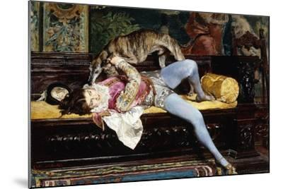 A Young Page, Playing with a Greyhound; Un Jeune Page, Jouant Avec Un Levrier, 1869-Giovanni Boldini-Mounted Giclee Print