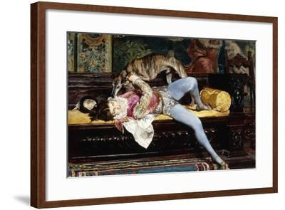 A Young Page, Playing with a Greyhound; Un Jeune Page, Jouant Avec Un Levrier, 1869-Giovanni Boldini-Framed Giclee Print