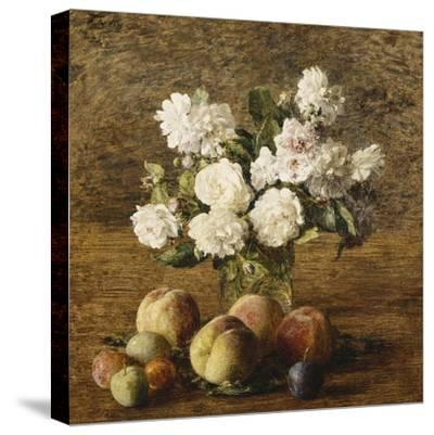 Still Life: Roses and Fruits; Nature Morte: Roses Et Fruits, 1878-Henri Fantin-Latour-Stretched Canvas Print