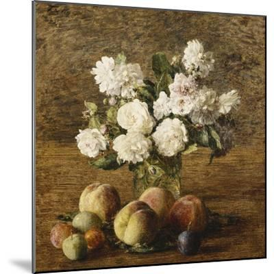 Still Life: Roses and Fruits; Nature Morte: Roses Et Fruits, 1878-Henri Fantin-Latour-Mounted Giclee Print