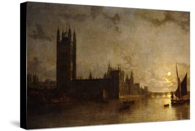 Westminster Abbey, the Houses of Parliament with the Construction of Westminster Bridge, 1859-Henry Pether-Stretched Canvas Print