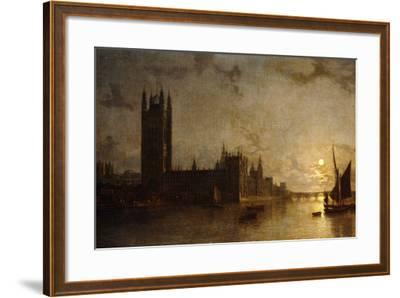 Westminster Abbey, the Houses of Parliament with the Construction of Westminster Bridge, 1859-Henry Pether-Framed Giclee Print