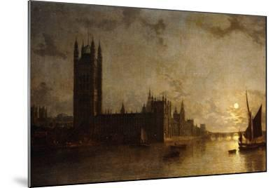 Westminster Abbey, the Houses of Parliament with the Construction of Westminster Bridge, 1859-Henry Pether-Mounted Giclee Print