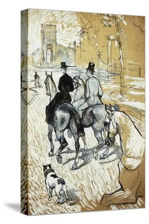 Horse-Riders Going Toward the Bois De Boulogne; Cavaliers Se Rendant Au Bois De Bologne, 1888-Henri de Toulouse-Lautrec-Stretched Canvas Print