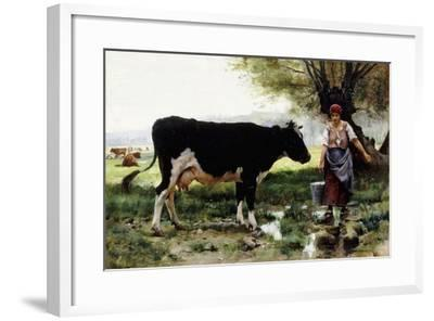 A Milkmaid with Her Cow-Julien Dupre-Framed Giclee Print