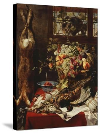 A Larder Still Life with Fruit, Game and a Cat by a Window-Frans Snyders Or Snijders-Stretched Canvas Print