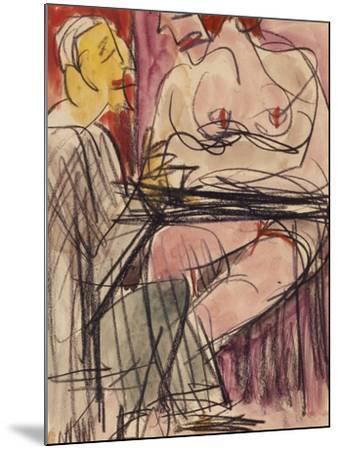 Female Nude and Man Sitting at a Table; Weiblicher Akt Und Mann an Einem Tisch Sitzend-Ernst Ludwig Kirchner-Mounted Giclee Print