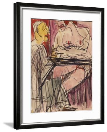 Female Nude and Man Sitting at a Table; Weiblicher Akt Und Mann an Einem Tisch Sitzend-Ernst Ludwig Kirchner-Framed Giclee Print