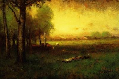 Cows Grazing at Sunset-George Snr^ Inness-Framed Giclee Print