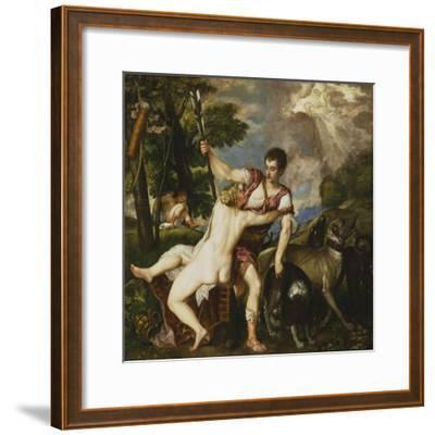 Venus and Adonis, 1554-Titian (Tiziano Vecelli)-Framed Giclee Print