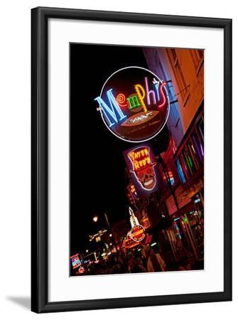Beale Street at Night in Memphis Tennessee--Framed Photographic Print