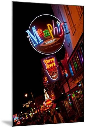 Beale Street at Night in Memphis Tennessee--Mounted Photographic Print