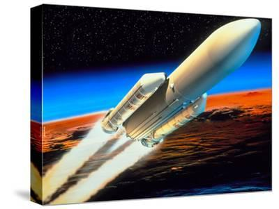 Art of Launch of Ariane 5 Rocket-David Ducros-Stretched Canvas Print