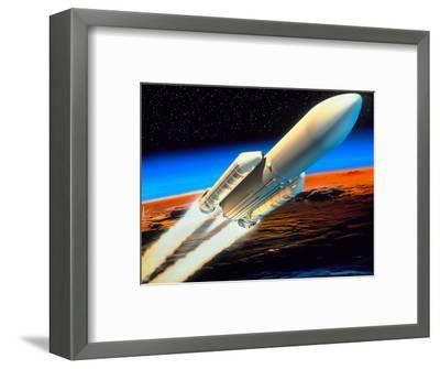 Art of Launch of Ariane 5 Rocket-David Ducros-Framed Premium Photographic Print