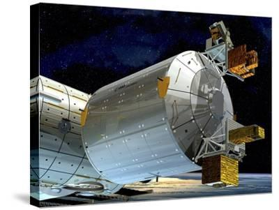 Columbus Module of the ISS, Artwork-David Ducros-Stretched Canvas Print
