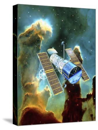 Artwork of Hubble Space Telescope And Eagle Nebula-David Ducros-Stretched Canvas Print