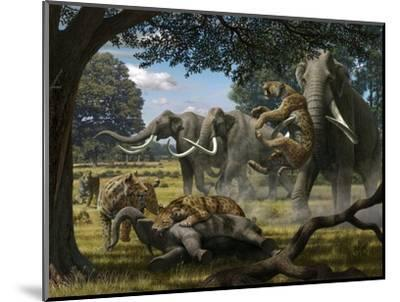 Mammoths And Sabre-tooth Cats, Artwork-Mauricio Anton-Mounted Premium Photographic Print
