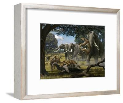 Mammoths And Sabre-tooth Cats, Artwork-Mauricio Anton-Framed Premium Photographic Print