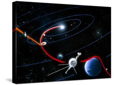 Diagram of Paths Taken by the 2 Voyager Spacecraft-Julian Baum-Stretched Canvas Print