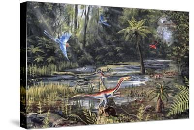 Cretaceous Life, Artwork-Richard Bizley-Stretched Canvas Print