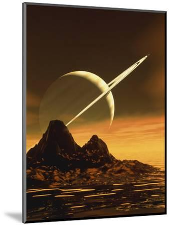 Computer Artwork of Titan's Surface And Saturn-Julian Baum-Mounted Premium Photographic Print