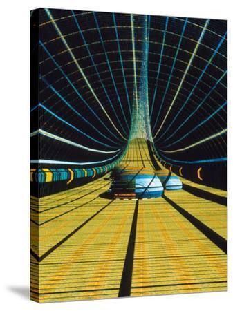 Interior of a Giant Farm Spaceship.-Julian Baum-Stretched Canvas Print
