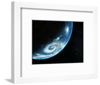 Earth And Moon, Artwork-Richard Bizley-Framed Premium Photographic Print