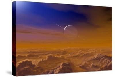 Saturn From the Surface of Titan-Chris Butler-Stretched Canvas Print