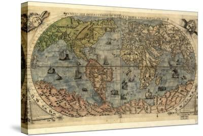 16th Century World Map-Library of Congress-Stretched Canvas Print