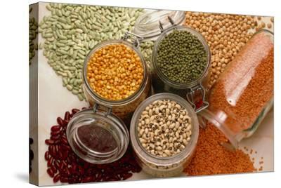 View of An Assortment of Beans And Pulses-Erika Craddock-Stretched Canvas Print