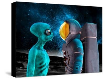 Alien And Astronaut, Artwork-Victor Habbick-Stretched Canvas Print