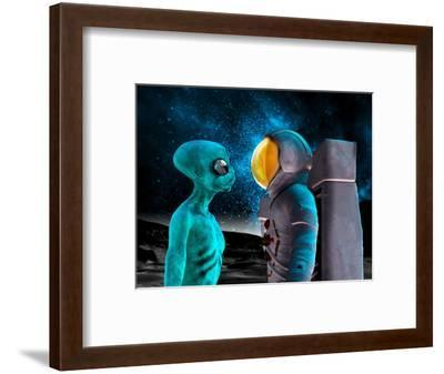 Alien And Astronaut, Artwork-Victor Habbick-Framed Premium Photographic Print