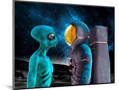 Alien And Astronaut, Artwork-Victor Habbick-Mounted Premium Photographic Print