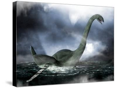 Loch Ness Monster, Artwork-Victor Habbick-Stretched Canvas Print