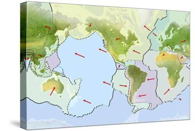 Earth's Tectonic Plates-Gary Hincks-Stretched Canvas Print