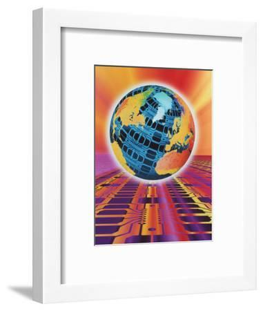 Computer Art of Earth As a Circuit Board-Mehau Kulyk-Framed Premium Photographic Print