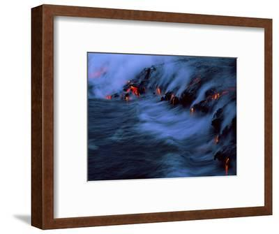 Molten Lava Flowing Into the Ocean-Brad Lewis-Framed Premium Photographic Print