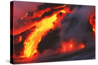 Molten Lava Flowing Into the Ocean-Brad Lewis-Stretched Canvas Print