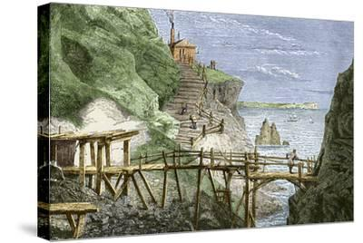 19th-century Tin Mine, Cornwall-Sheila Terry-Stretched Canvas Print