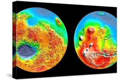 3-D Topography of Mars--Stretched Canvas Print
