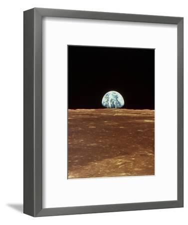 Apollo 11 View of Earth Rising Over Moon's Horizon--Framed Premium Photographic Print