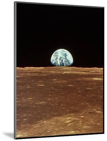 Apollo 11 View of Earth Rising Over Moon's Horizon--Mounted Premium Photographic Print