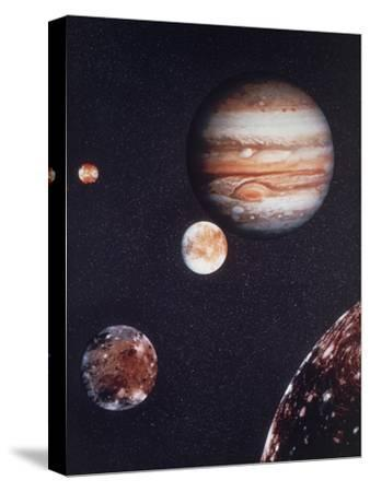 Composite Image of Jupiter & Four of Its Moons--Stretched Canvas Print